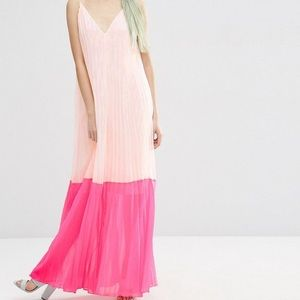 Asos Pleated Colorblock Maxi